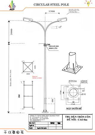 Trụ đèn 8m STK - cần đôi 180 độ