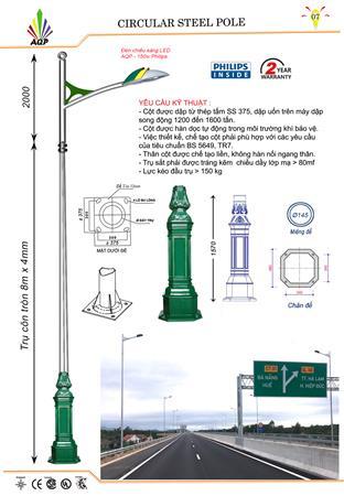Trụ đèn đường sơn tĩnh điện xanh lá
