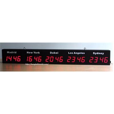 Đồng hồ led treo tường hiển thị giờ quốc tế