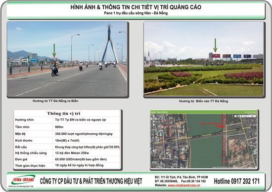 Bảng quảng cáo ( Pano , billboard) 1 trụ bên bờ sông Hàn, Tp Đà Nẵng