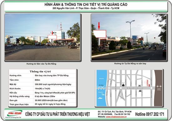 VINA BRAND cho thue Pano (billboard) 1 trụ đầu đường từ sân bay Đà Năng vào Tp