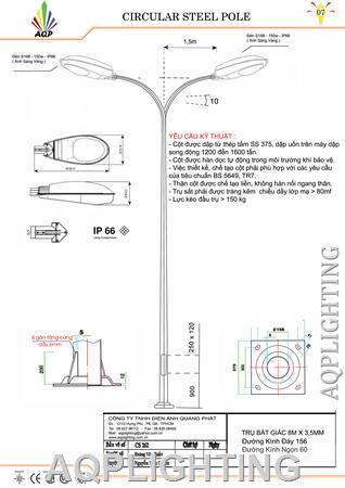 Trụ đèn đường 8m