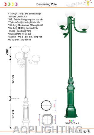 Đèn trụ công viên 3878 - 3 + 1