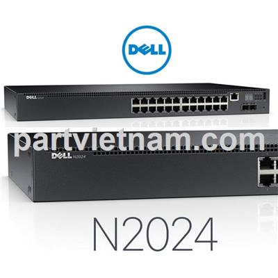 Dell Networking N2024, L2, 24x 1GbE + 2x 10GbE SFP+ fixed ports, Stacking, IO to PSU airflow, AC