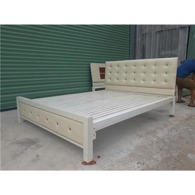Giường sắt giả gỗ kiểu mới NT2019
