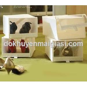 Màu trắng - Hộp đựng giày IKEA xếp gọn (Dài 34cm x Rộng 22cm x Cao 16cm)