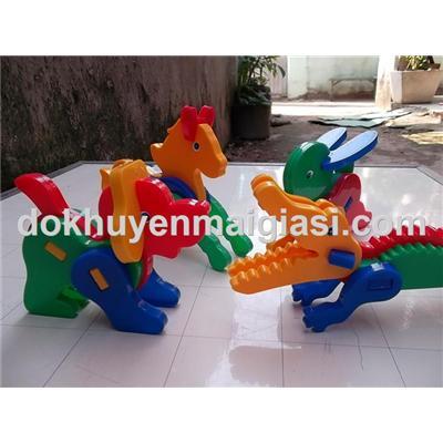 Bộ 4 xếp hình thông minh Aquafresh bằng nhựa cho bé - Chó, Thỏ, Ngựa, Cá sấu