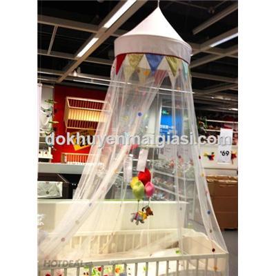 Mùng Ikea treo nôi/ cũi cho bé màu trắng trang trí cực xinh - Loại 1, Dài 2.4 m