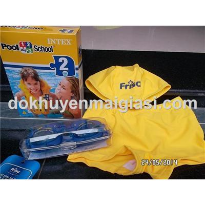 Bộ đi bơi Friso 4 món cho bé 2 - 4 tuổi: áo phao Intex, kính bơi, quần và nón bơi