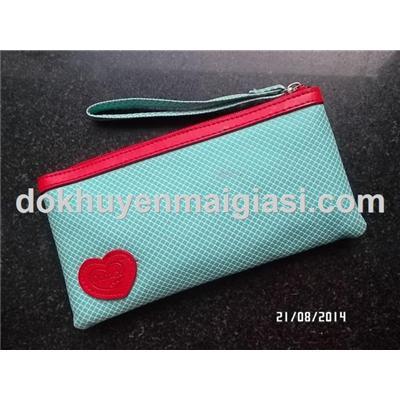 Màu xanh: Ví cầm tay Dumex 2 ngăn có dây kéo - Kích thước: 21 x 11 cm