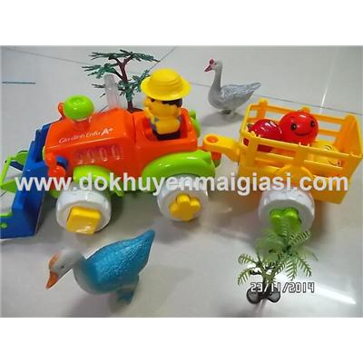 Bộ đồ chơi nông trại Enfa dùng pin, xe có nhạc đèn chạy được - Tặng kèm pin