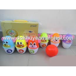 Bộ trò chơi Bowling Enfa hình thú bằng nhựa nhiều màu sắc cho bé chơi mà học