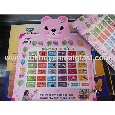 Gấu hồng: Bảng học thông minh Dielac 2 mặt cho bé dùng pin - Học tiếng Việt, tiếng Anh (tặng pin)