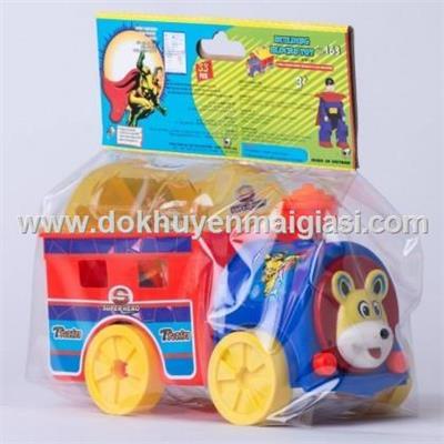 Bộ xe gấu vui nhộn + xếp hình siêu nhân nhựa Chợ Lớn