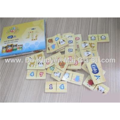 Bộ đồ chơi Domino bằng gỗ Enfa