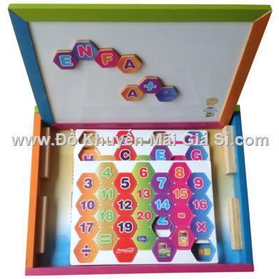 Bộ bảng học gỗ Enfa kèm bộ chữ số nam châm cho bé