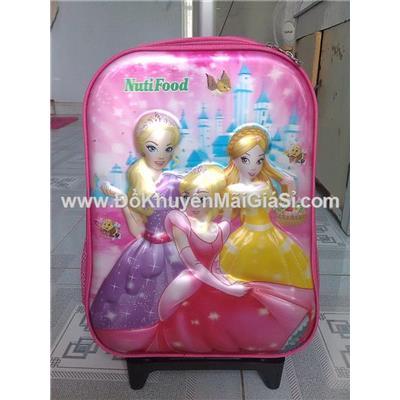Màu hồng: Balo kéo Nuti 3D hình công chúa cho bé tiểu học - Kt: (36.5 x 27 x 13) cm
