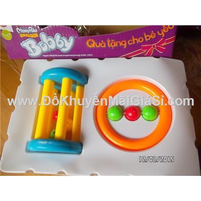 Đồng hồ cát: Bộ 2 lục lạc bằng nhựa nguyên sinh cho bé sơ sinh - Tã Bobby tặng