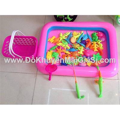 Bộ trò chơi câu cá có hồ phao + bơm phao - 2 màu: xanh, hồng