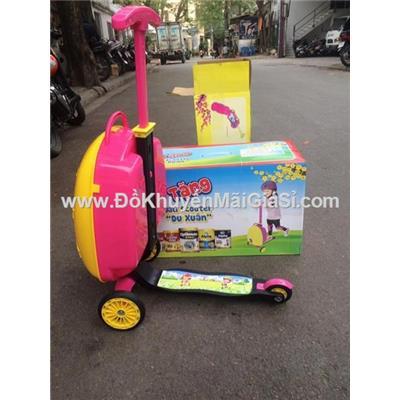 Vali kiêm xe scooter cho bé 2 - 4 tuổi, sữa Vinamilk tặng (Còn màu xanh)