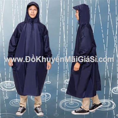 Áo mưa vải dù không xẻ tà cho người lớn - 1 màu xanh đen