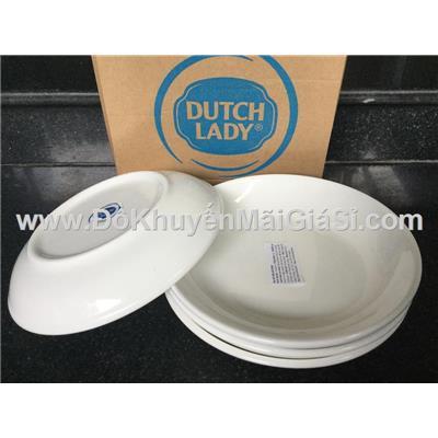 Bộ 4 dĩa sứ trắng sâu lòng Dutch Lady cỡ nhỏ - Kt: (15 x 3) cm