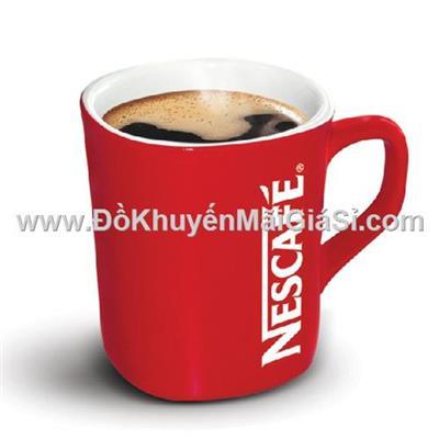 Ly sứ cao cấp Nescafe màu đỏ có quai cầm - Dung tích 250 ml