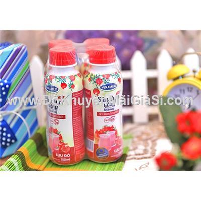 Lốc 4 chai sữa chua uống Vinamilk lựu đỏ 150ml - Date: 02/2018