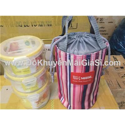 Bộ hộp cơm kèm túi giữ nhiệt Nestle sọc - Kt: (21 x 13) cm