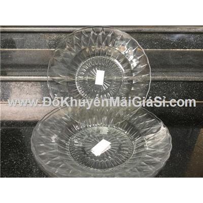 Bộ 3 dĩa thủy tinh kim cương sâu lòng đường kính 22.2 cm
