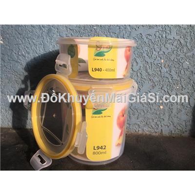 Bộ 2 hộp nhựa tròn Sina nắp gài L940 (400 ml) + L942 (800 ml)