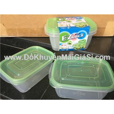 Bộ 2 hộp nhựa E.Zlock Lock & Lock 1320ml HLE6420WG - Nắp màu xanh lá