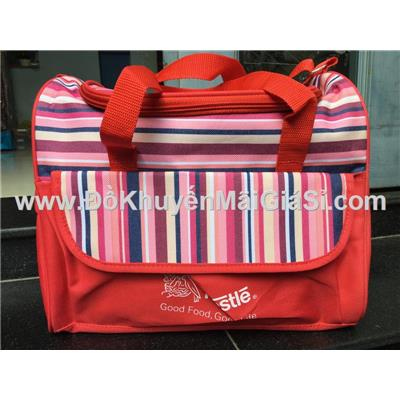 Túi xách sọc Nestle dạng hộp - Kt: (30 x 25 x 17) cm