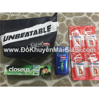 Bộ quà tặng Clear Men - Close Up 4 món: túi đựng, 4 sữa tắm Lifebuoy, 1 tuýp Close Up, 1 chai gội Clear Men