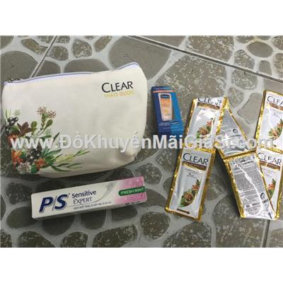 Bộ quà tặng Clear thảo dược 4 món: túi đựng, kem đánh răng, gội Clear thảo dược, dưỡng thể