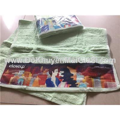 Bộ 2 khăn mặt CloseUp màu xanh lá có hình - Kt: (35 x 58) cm