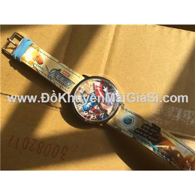Đồng hồ đeo tay hoạt hình Captian America (Đội trưởng Mỹ) Fristi tặng - Made in Hong Kong