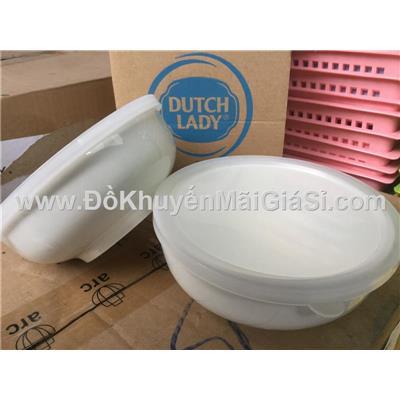 Bộ 2 tô sứ Dutch Lady 6 in nắp nhựa - Kt tô: (16.2 x 6.7) cm