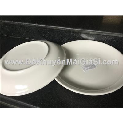 Bộ 2 dĩa sứ trắng trơn sâu lòng Knorr 9 in cỡ lớn - Kt: (22.5 x 3.5) cm