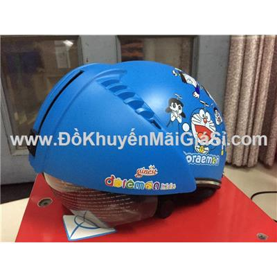 Nón bảo hiểm giấu kính hoạt hình Doraemon cho bé - Yến sào Ginest tặng