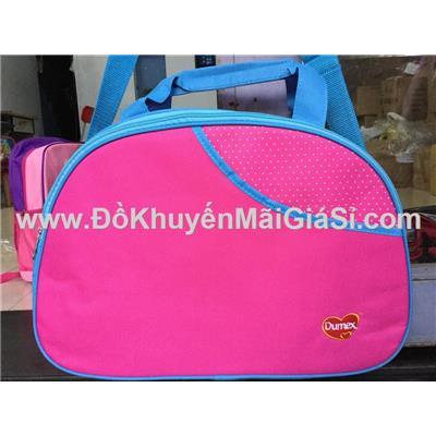 Túi xách Dumex hình bán nguyệt màu hồng chấm bi trắng, viền xanh - Kt: (44 x 14 x 30) cm