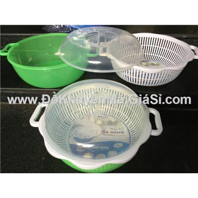 Bộ thau rổ nhựa đa năng Vinamilk có quai cầm + nắp đậy - Kt: (32 x 27 x 14.5) cm