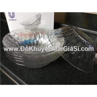 Bộ 6 tô thủy tinh kim cương 7 in kiểu loe - Kt: (18 x 5.8) cm