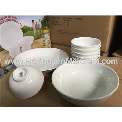 Bộ bàn ăn Minh Long 8 món màu trắng ngà - Sữa Sure Prevent tặng