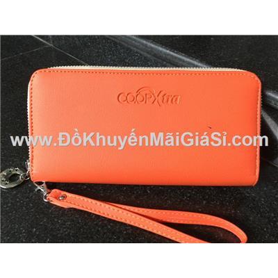Bóp cầm tay chữ nhật Co.opXtra màu cam có dây xách - Kt: (20 x 10) cm