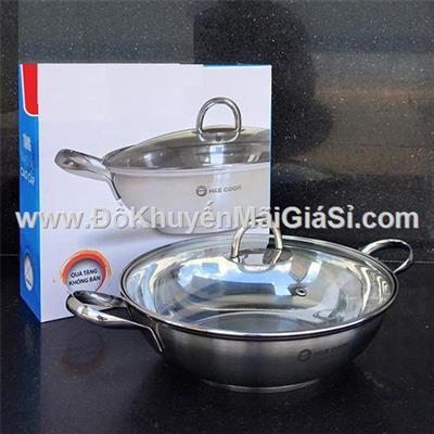 Chảo lẩu inox 3 đáy H&E Cook nắp kính 28 cm - Sharp tặng