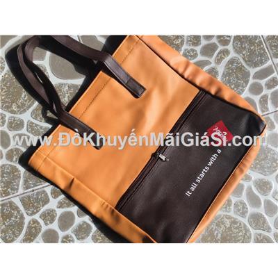 Túi xách Nescafe 2 ngăn màu nâu chống ướt - Kt: (32 x 8 x 35) cm