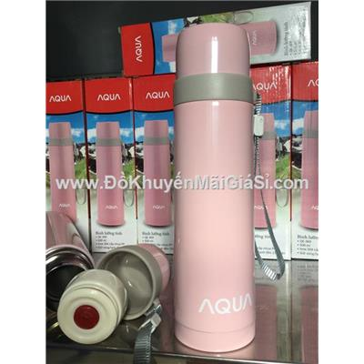 Bình giữ nhiệt lưỡng tính cao cấp Aqua QE-369 500 ml màu hồng pastel