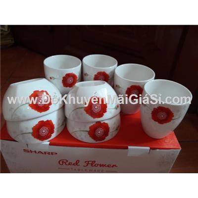 Bộ 4 chén + 4 ly sứ cao cấp Dong Hwa hoa đỏ - Sharp tặng
