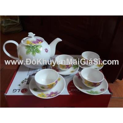 Bộ bình trà gốm sứ vẽ tay cao cấp Dong Hwa Hàn Quốc - LG tặng